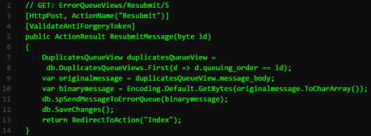send-to-stored-procedure-code
